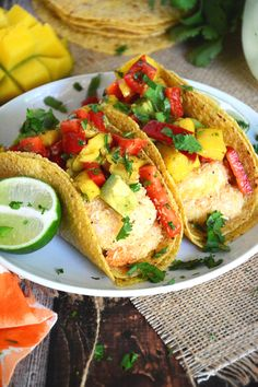 {30 Minute} Coconut Lime Shrimp Tacos with Mango, Red Pepper & Avocado Salsa | The Housewife in Training Files