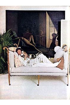 Marella Agnelli at home in Rome on a Louis XVI bed in front of a painting by Balthus in Vogue, Jan. 1, 1977.  Photo by Karen Radkai.