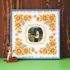 A vintage hanky and an old photo get combined with Mod Podge Photo Transfer Medium to make a custom decor piece