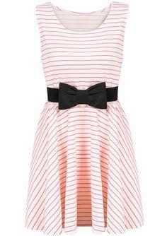 Red White Striped Sleeveless Bow Dress