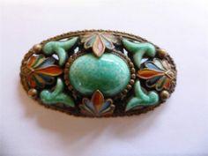 Stylish Art Deco Vintage Czech Jade Glass Enamel Brooch 1920's By Max Neiger | eBay