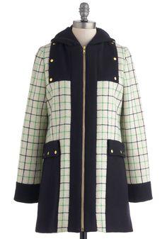 Lauren Moffatt Say You Willow Coat by Lauren Moffatt - Green, Blue, Pockets, Long Sleeve, Tan / Cream, Plaid, Exposed zipper, Winter, Long, Mint, 3