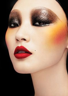 makeup artistry, color combos, geisha, oriental style, doll face, blushes, beauti, avant garde, eyes