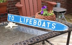 Nautical Sign Directional Arrow Life Boat Beach by justbeachyshop, $24.99