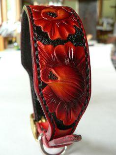 Medium Tooled Leather Dog Collar