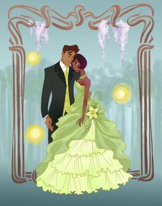 Prom Tiana: Love these Disney prince and princess prom poses! Illustration by spicysteweddemon