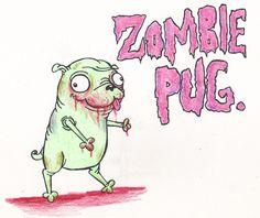 The cuter part of the zombie apocalypse. The pug part. pug illustr, puggi, anim babi, cuter, zombi apocalyps, zombi pug, pugs, pug board, zombies