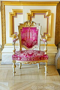 french style interior vintage pink and gold chair