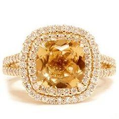 3.22CT Yellow Cushion Citrine Pave Halo Split Shank Engagement Ring Yellow Gold... I wish Citrine Engagement Ring, Engag Ring, Engagement Rings