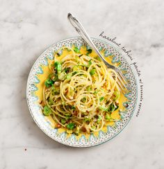 hazelnut tahini pasta with brussels sprouts / loveandlemons.com