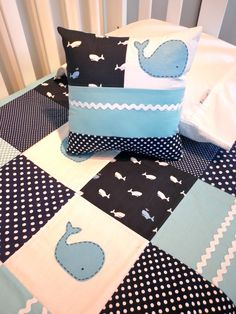 WHALE Quilt Set, Baby Boy Crib Quilt and Patchwork Pillow