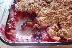 dairy free peach cobbler. made this tonight for my sil on the mspi diet for her babe. subbed raspberry juice for the almond milk and raspberries for blackberries and it was a.m.a.zing! we all had seconds and finished the whole thing between the 4 of us.
