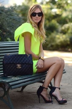 fashion, chanel bags, purs, color, neon green, outfit, the dress, shoe, neon yellow