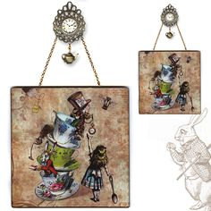 Vicki Butler Mad tea party collage glass wall pendant designed using Alice in Wonderland illustrations from coloring book that were hand colored and enhanced.  Other design elements from Victorian goods. We love Dover sourcebooks and use many elements in our handmade Home design store.