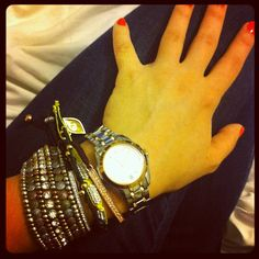 how amazing is @heysarajean's @manrepeller + BB arm party!? #showusyoursparkle