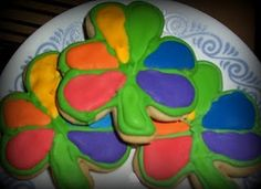 Rainbow Shamrock Cookies