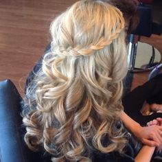 hair down, french braids, bridesmaid hair, long hair, curl, prom hair, hair style, waterfall braids, wedding hairstyles