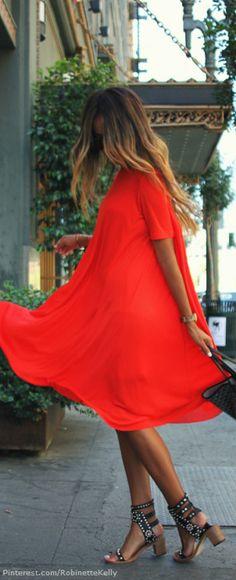 Street Style street look, hair colors, orang, street wander, the dress, street styles, sandal, shoe