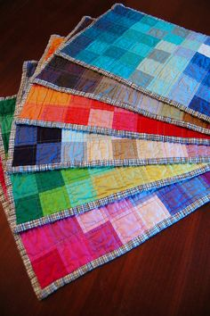 Quilted Placemats... Could use up fabric scraps! Great idea!