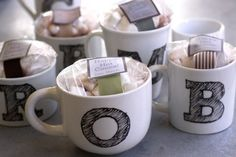 home-made monogrammed mugs with hot chocolate. great gift idea!