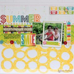 BoBunny designer Juliana Michaels created this adorable summer layout featuring the new Lemonade Stand collection. She also designed a free cut file for you to enjoy, just visit Juliana's blog! #BoBunny, @julianamichaels