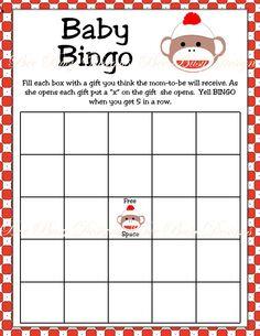 Printable Sock Monkey Baby Shower Bingo Game. $4.00, via Etsy.