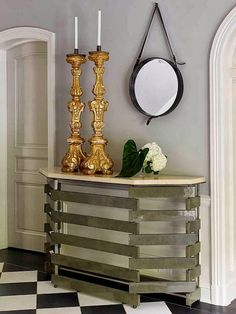 Jean-Louis Deniot: Jean de Merry Gray stained and natural parchment console with 18th century French gilded candlesticks