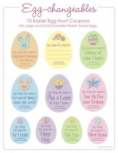 Coupons for Easter Egg Hunt Eggs