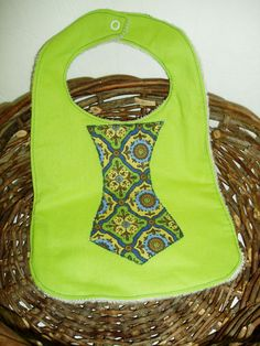 Lime Green Tie Bib by BrennysBibbies on Etsy, $7.00