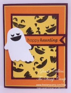 "2014 created the little faces from the ""Fall Fest"" stamp set, used the Coordinating Fun Fall Framelits dies to create  ghost, sentiment is from the""Ghoulish Greetings"" stamp set,"
