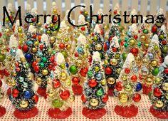 Holiday Sparkle Christmas Bottle Brush Trees
