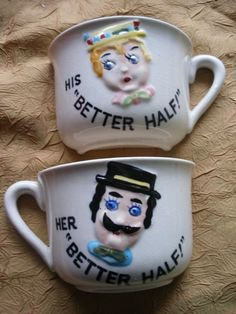 Vintage His & Hers novelty half cups half cup