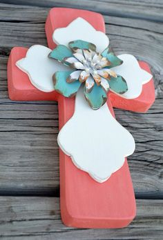 Corral wooden cross with metal flower center by LaciLoos on Etsy