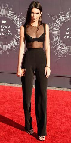 Kendall Jenner in a La Perla bra, Jennifer Fisher jewelry, and Giuseppe Zanotti shoes at MTV VMAs 2014