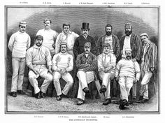 A 1888 Australian Cricket Team engraving of the Ashes touring cricketers in England.  **