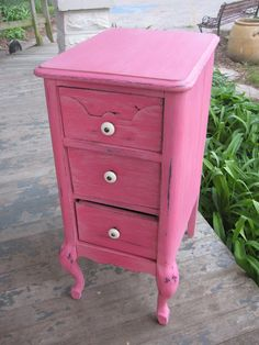 "Repaint vintage furniture any color you like. Biddy Craft/""Hot pink furniture atThe Fabric of Sweet Repose"""