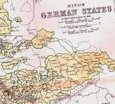 Germany States Map 1871 Victorian Era By Lippencott Antique Copper Engraved European Cartography