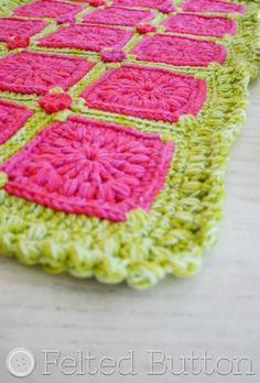 Felted Button -- Colorful Crochet Patterns--Melon Berry Rug crochet pattern