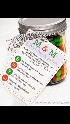 M&M Christmas Poem gift