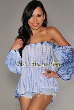 Blue Tye-Dye Off-The-Shoulder Top $42.99