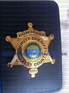Shelby County Sheriff Office - Honorary Deputy Sheriff badge and imprinted wallet. Attachment: rear pin attached to the wallet.  Available at www.policebadgetrader.com
