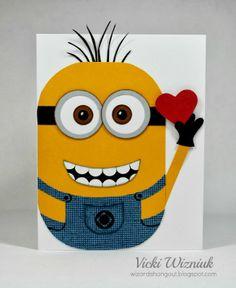 Minion Valentine card I made for my son.  So CUTE!  by Vicki Wizniuk valentin card, craft, valentine day cards, minions diy, valentine cards, vicki wizniuk, diy card, minion cards, minion valentin