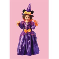 Mooie paarse Minnie Mouse heksen jurk van Disney, met bijpassende heksenhoed met muizenoren.
