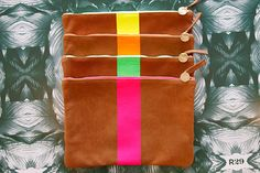 bridesmaids, leather wallets, bridesmaid gifts, clutch, neon colors, coin purses, accessories, bags, clare vivier