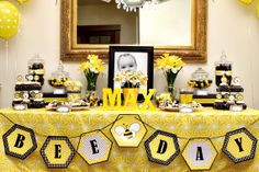birthday parties, birthday idea, bee parti, shower, first birthdays, bumble bees, banner, bee birthday, bumble bee party