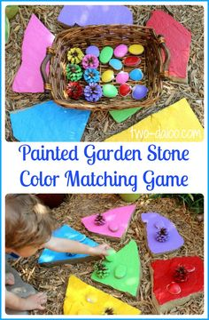 A fun color matching game made with flagstones and natural materials- perfect for the garden! A guest post for Train Up a Child by Twodaloo