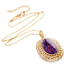 Rarities: Fine Jewelry with Carol Brodie Purple Mohave Turquoise and White Topaz Pendant with Chain at HSN.com