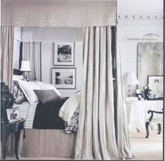 "Ralph Lauren Home Archives, ""Mayfair"", Bedroom, 2008; ""Fashioned with modern elegance and undertones of 1940s glamour, this sophisticated décor features well-tailored furniture deftly layered with silver and pewter metallics, natural woven materials and black, white and cream fabrics."""