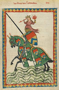Knight Ulrich von Lichtenstein, poet, statesman and famous jouster, in full armour with the figure of Venus displayed on the crest of his helm. Manessa Codex.