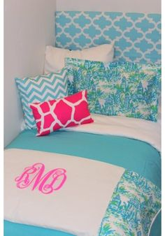 Lilly Lighthouse Designer Teen & Dorm Bed in a Bag | Teen Girl Dorm Room Bedding Preppy and pretty blue with hot neon pink accents. Limited quanties.